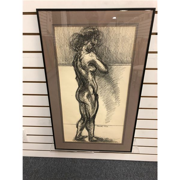 Frank Molnar Canadian (1936-2020) - Framed nude charcoal pencil sketch drawing 2000 - standing woman