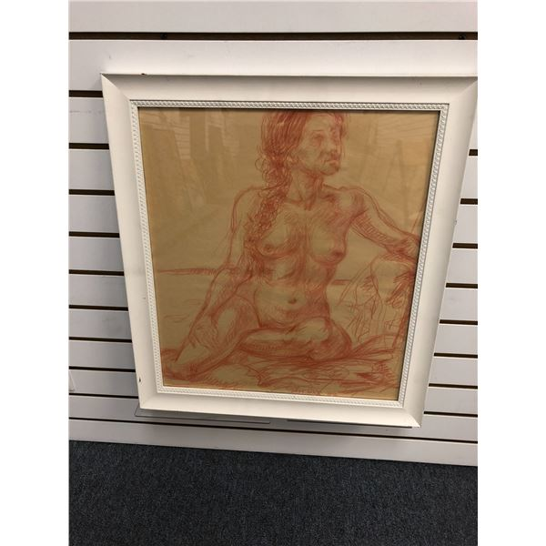 Frank Molnar Canadian (1936-2020) - Framed nude red charcoal pencil sketch drawing 2002 - leaning se