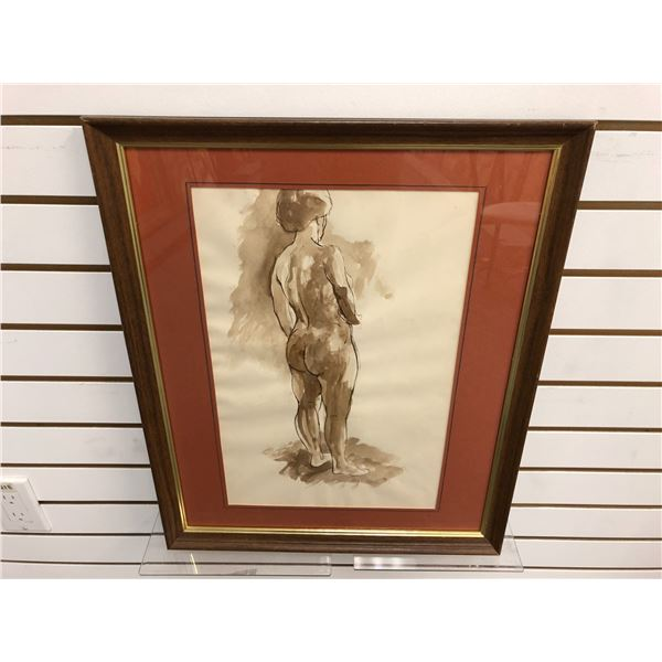 Frank Molnar Canadian (1936-2020) - Framed nude watercolor painting 1982 - backside standing woman -