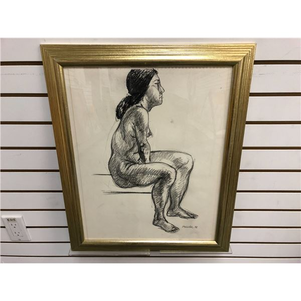 Frank Molnar Canadian (1936-2020) - Framed nude charcoal pencil sketch drawing 1978 - seated woman -