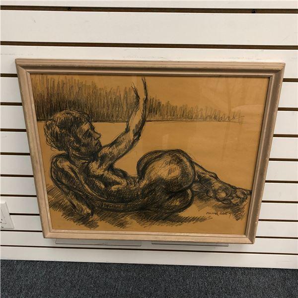 Frank Molnar Canadian (1936-2020) - Framed nude charcoal pencil sketch drawing 2000 - lying down wav