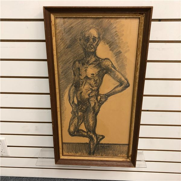 Frank Molnar Canadian (1936-2020) - Framed nude charcoal pencil sketch drawing 2000 - standing skinn