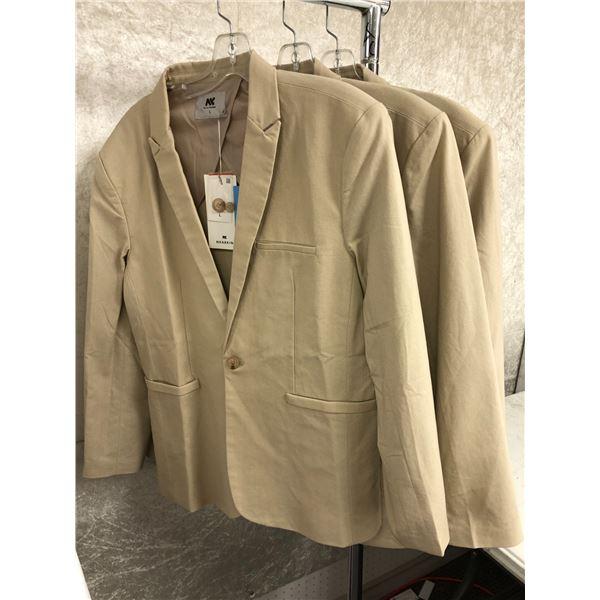 Group of 3 Nearkin men's beige blazers - sizes: 1 L & 2 XL