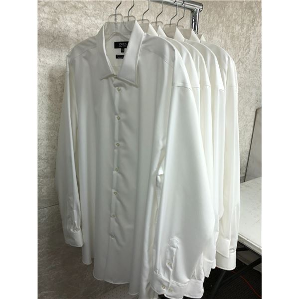 Group of 6 Jones New York men's white collared shirts - assorted sizes