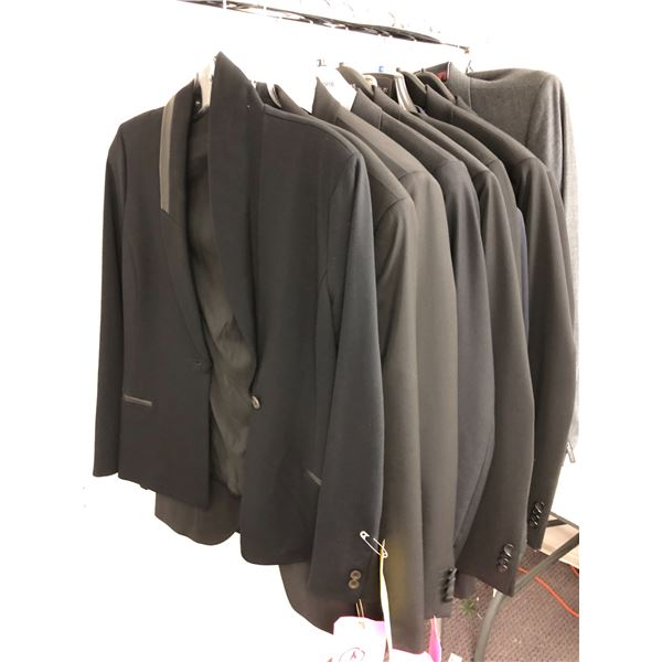 Group of 10 men's assorted black dress jackets from film production company - some new some actor wo