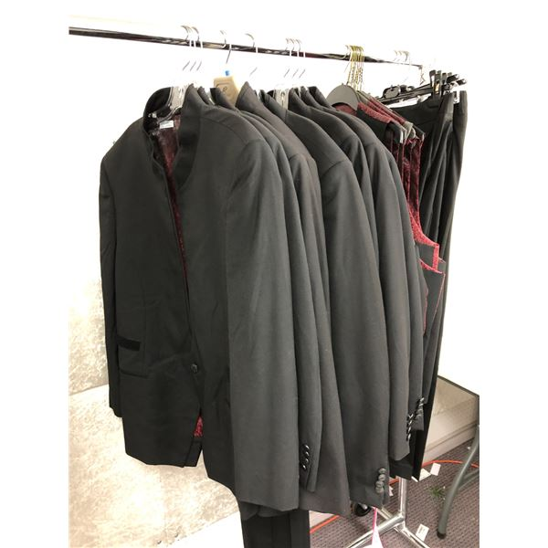 Approx. 21 pcs. of men's black suit jackets/ vests & pants from film production company - actor worn