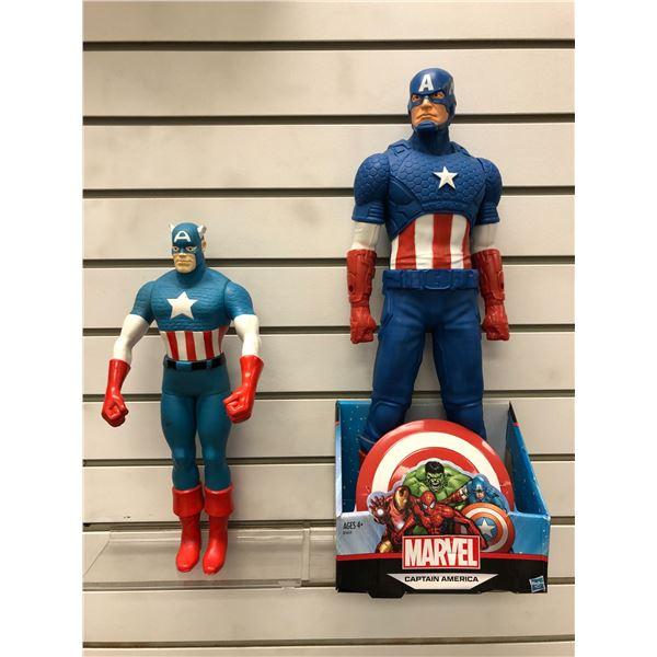 Marvel Captain America 19in action figure by Hasbro 2015 w/ original box & 1991 Captain America 14in