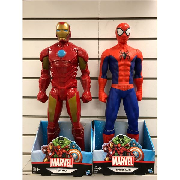 Two Marvel 19in action figures - Iron-Man & Spider-Man (Hasbro in original box)