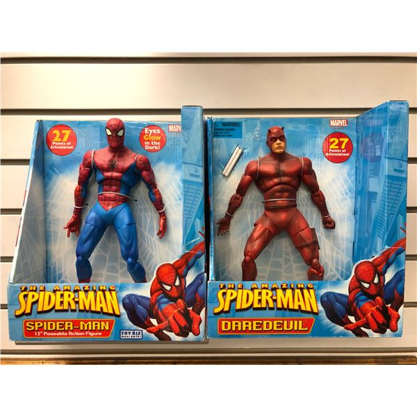 Two Marvel The Amazing Spider-Man 12in poseable action figures - Spider-Man & Daredevil (Toy Biz in