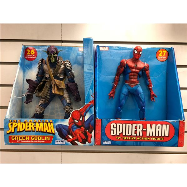 Two Marvel action figures - The Amazing Spider-Man Green Goblin 12in poseable action figure & Spider
