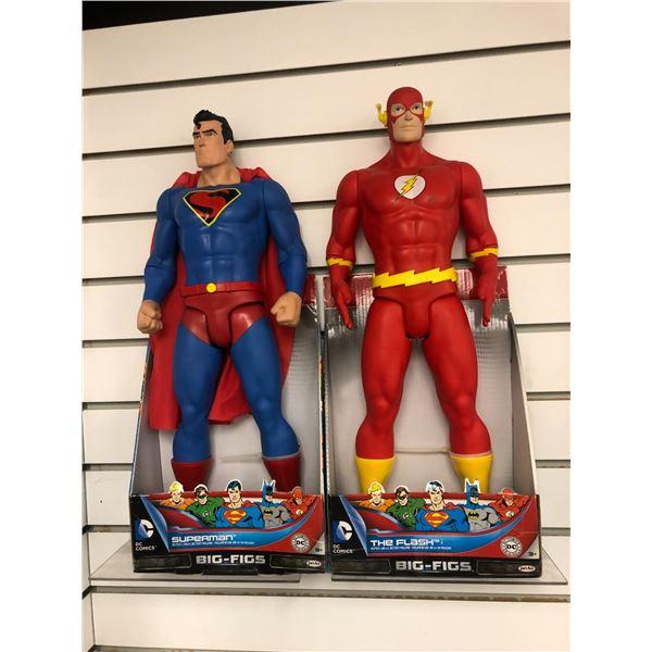 Pair of DC Comics 19in action figures - Superman & The Flash (Jakks Pacific in original boxes)