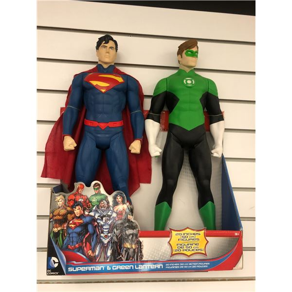 Pair of DC Comics 20in action figures - Superman & Green Lantern (Jakks Pacific in original box)