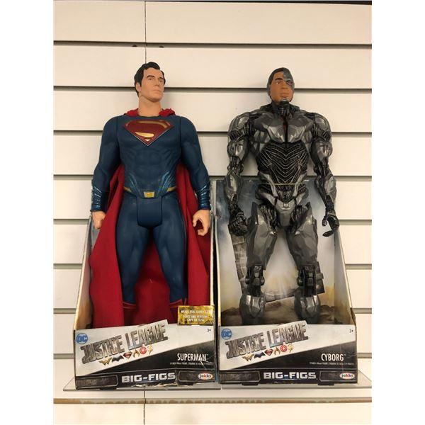 "Pari of DC Comics ""Justice League"" 19in action figures - Superman & Cyborg (Jakks Pacific in origina"