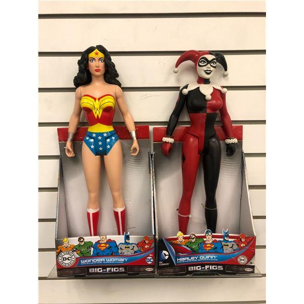 Pair of DC Comics 18in action figures - Wonder Woman & Harley Quinn (Jakks Pacific in original boxes
