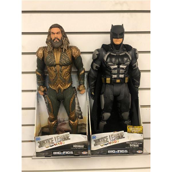 "Pair of DC Comics ""Justice League"" 19in action figures - Aquaman & Batman (Jakks Pacific in original"