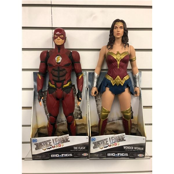 "Pair of DC Comics ""Justice League"" 18in/ 19in action figures - The Flash & Wonder Woman (Jakks Pacif"