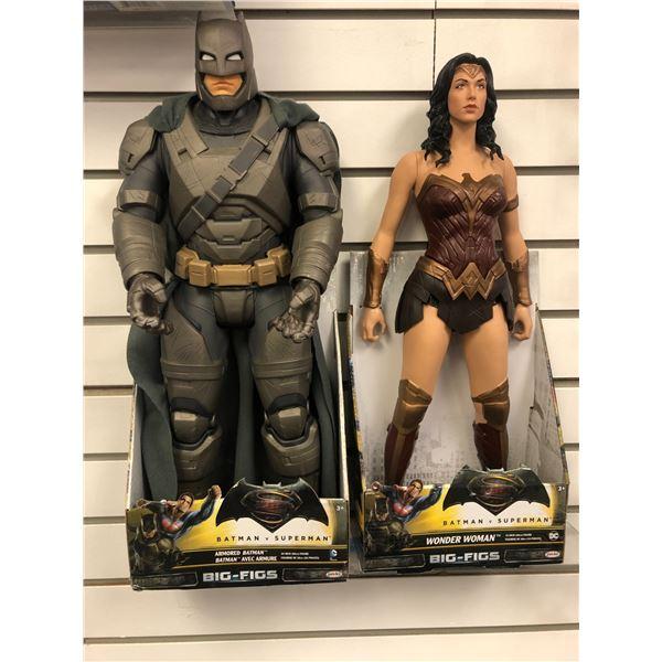 Pair of DC Comics Batman v Superman 19in/ 20in action figures - Armored Batman & Wonder Woman (Jakks