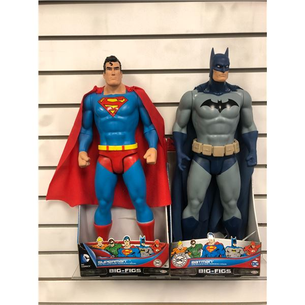 Pair of DC Comics 19in action figures - Superman & Batman (Jakks Pacific in original boxes)