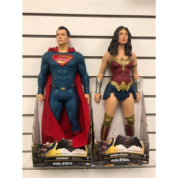 Pair of DC Comics Batman v Superman 19in action figures - Superman & Wonder Woman (Jakks Pacific in