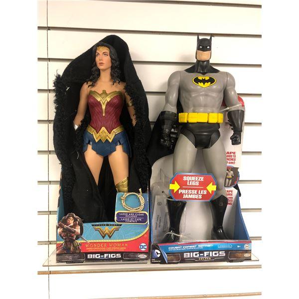 Pari of DC Comics 19in action figures - Wonder Woman w/ limited edition cloak & Covert Combat Batman