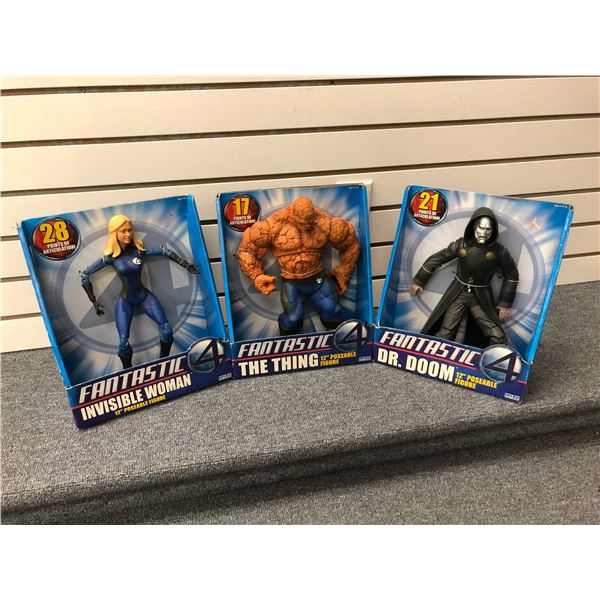 Group of 3 DC Comics Fantastic 4 12in poseable action figures - Invisible Woman/ The Thing & Dr. Doo