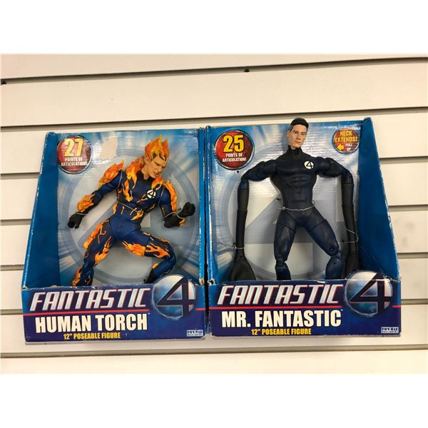 Pair of DC Comics Fantastic 4 12in poseable action figures - Human Torch & Mr. Fantastic (Toy Biz in