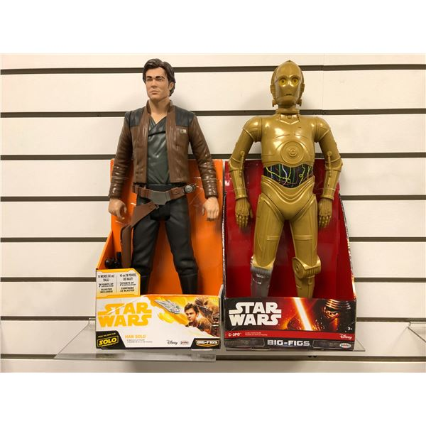 Two Disney Star Wars 18in action figures - Han Solo & C-3PO The Force Awakens (Jakks Pacific new in