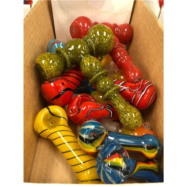 One box of approx. 23 nicely crafted glass cannabis pipes