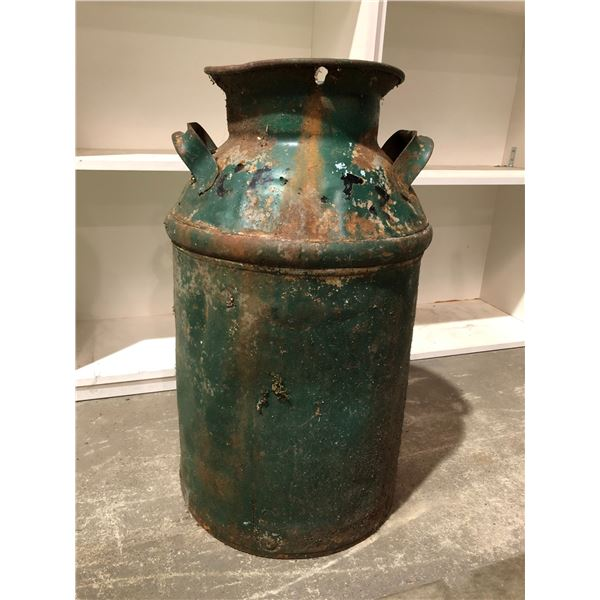 Antique painted green cream can