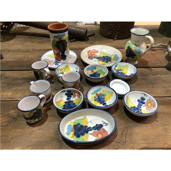 Group of 17 pcs. hand painted bowls/ plates/ cups/ jug