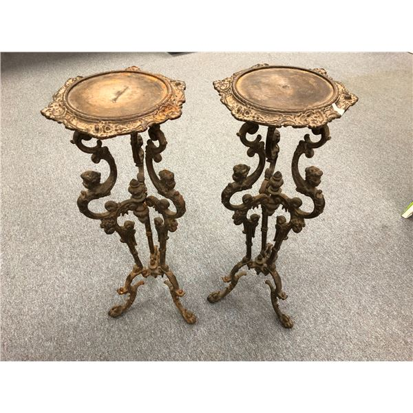Pair of late 19th century solid cast metal cherub stand