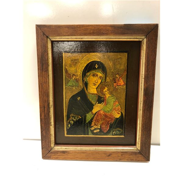 Framed oil on board painting unsigned - religious motif approx. 15in x 18in (247)