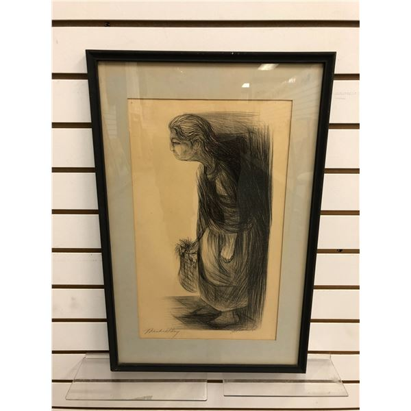 "Framed original charcoal pencil sketch drawing titled ""Market Day"" - signed bottom right corner 1968"