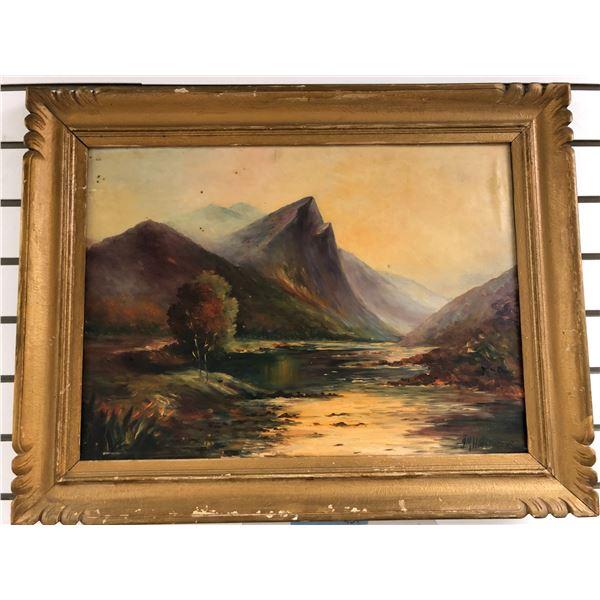 Framed antique oil on board original painting - Scotland Highlands signed bottom right corner approx