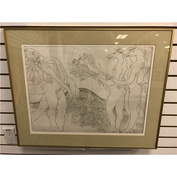 """Framed artist proof lithograph titled """"Awaiting The Saint; The Desire"""" signed by artist bottom right"""