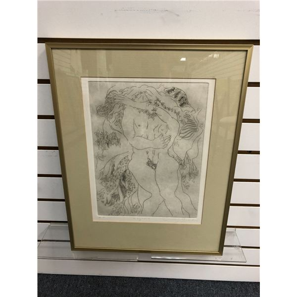 """Framed artist proof lithograph titled """"Lovers"""" signed by artist bottom right corner approx. 9in x 12"""