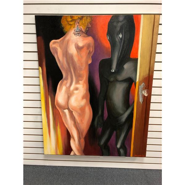 Frank Molnar Canadian (1936-2020) - nude oil on canvas painting 1990 - woman w/ mythical beast appro