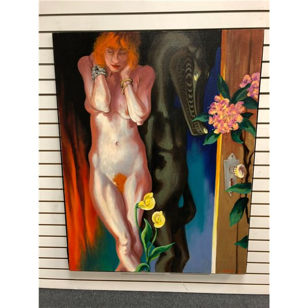 Frank Molnar Canadian (1936-2020) - nude oil on canvas painting 1991 - woman/ mythical beast/ flower