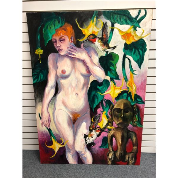 Frank Molnar Canadian (1936-2020) - nude oil on canvas painting 2002 - woman/ humming bird/ flowers/