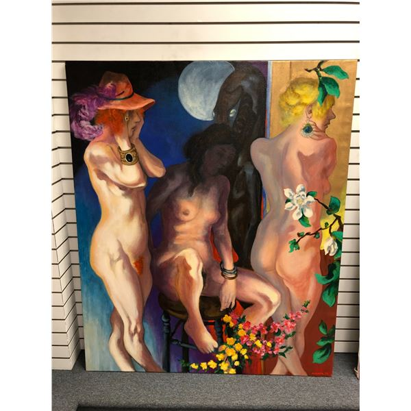 Frank Molnar Canadian (1936-2020) - nude oil on canvas painting 1992 - 3 women/ full moon/ mythical