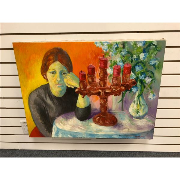Frank Molnar Canadian (1936-2020) - oil on canvas painting 1966 - woman/ candelabra/ flower vase app