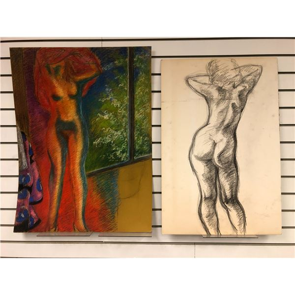 Frank Molnar Canadian (1936-2020) - 2 nude on board drawings approx. 20in x 30in & 24in x 31in (133)