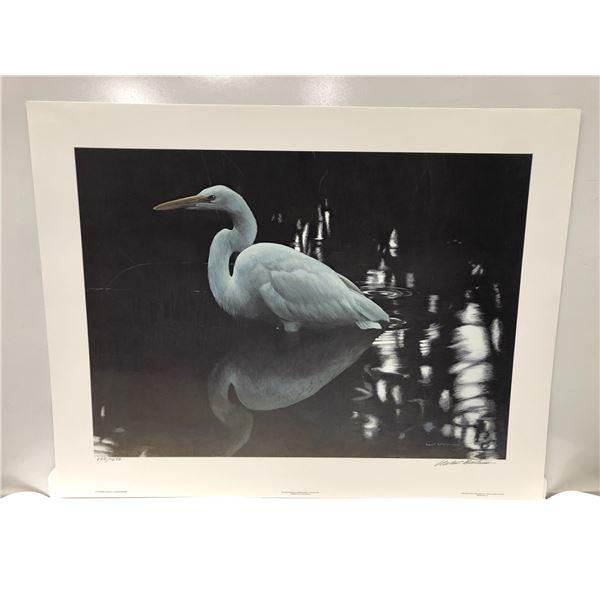"Robert Bateman limited edition print ""Mangrove Shadow - Common Egret"" #855/1250 signed by artist - c"