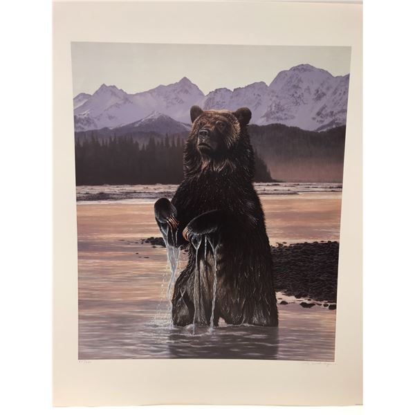 """Liz Mitten Ryan limited edition print """"Commanding Presence - Grizzly Bear"""" #24/220 signed by artist"""