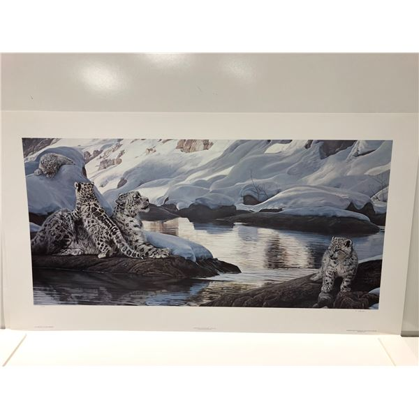 """Terry A Isaac limited edition print """"Watchful Eye - Snow Leopards"""" #9/1250 signed by artist - comes"""