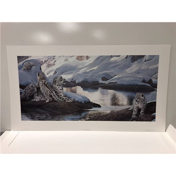 """Terry A Isaac limited edition print """"Watchful Eye - Snow Leopards"""" #89/1250 signed by artist"""