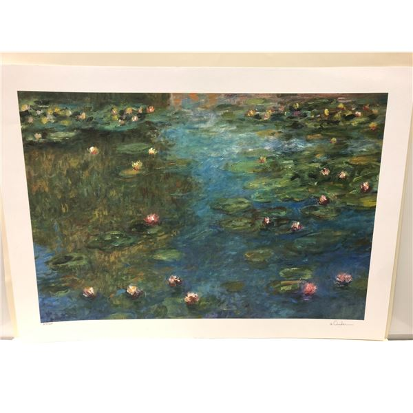 """Signed limited edition print (looks like Ander?) #357/400 """"Lily Pad Pond"""""""