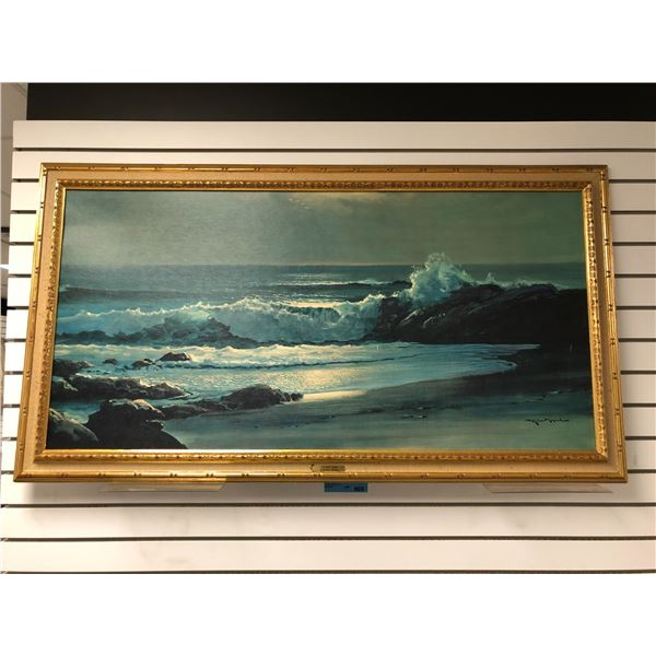 """Framed Robert Wood """"Golden Surf"""" print - approx. 53in x 29in"""