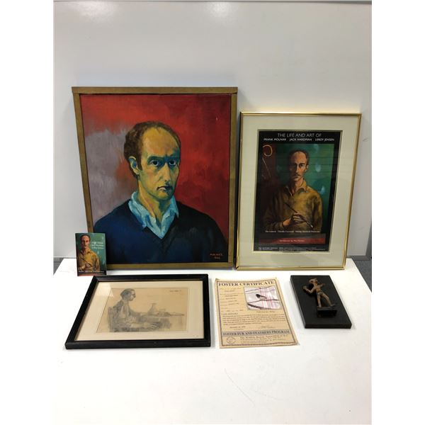 Group of 5 Frank Molnar pcs. - oil on canvas self-portrait 1965/ Rullen Keeter pencil sketch drawing