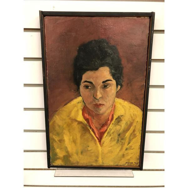 Frank Molnar Canadian (1936-2020) - framed oil on canvas painting 1960 - woman in yellow shirt appro